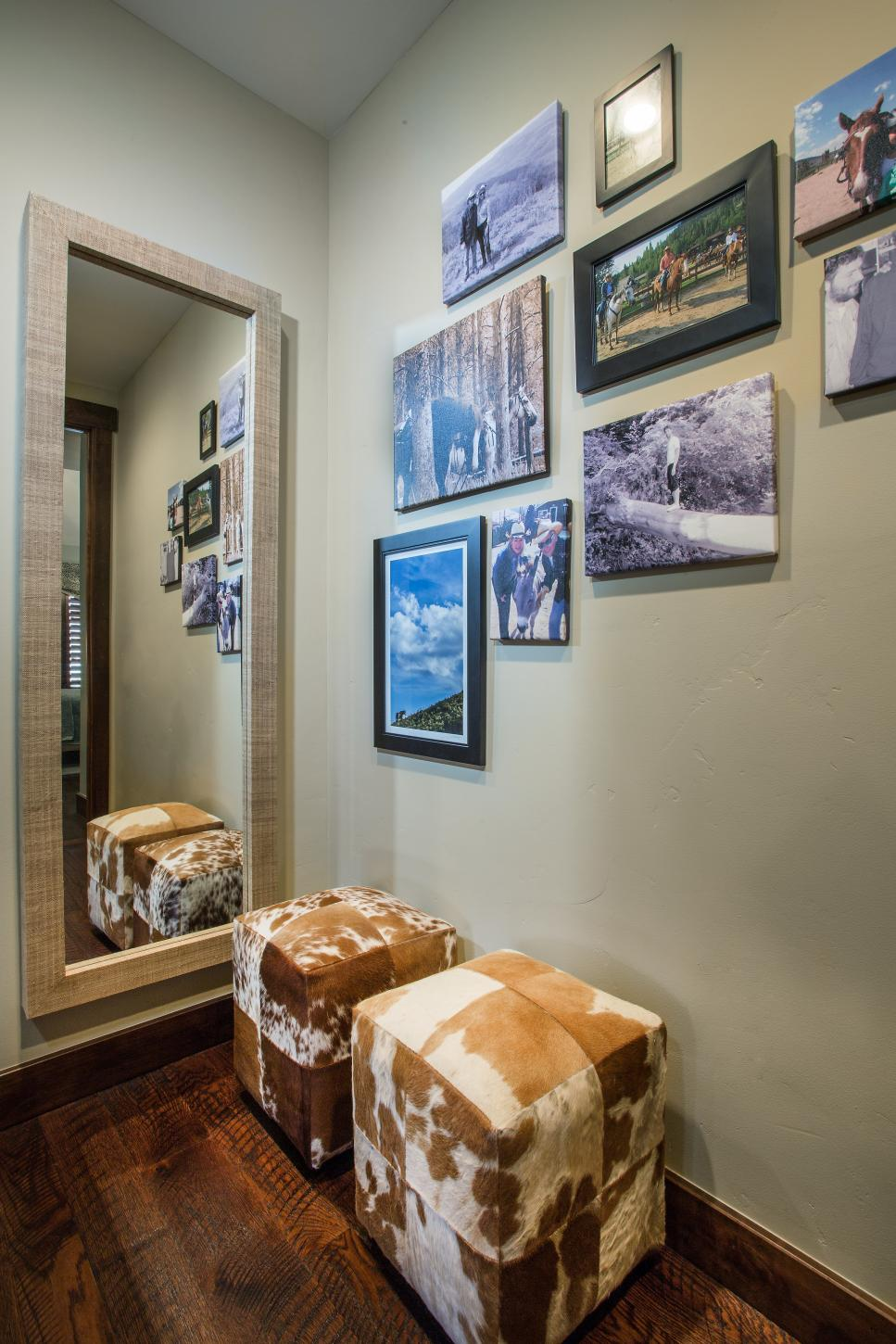 Gallery on Neutral Wall With Full Length Mirror & Cowhide Stools