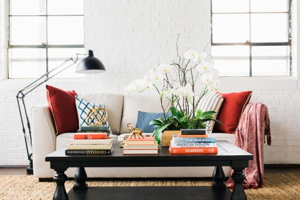 Living Room Coffee Table With Design Books and Decor