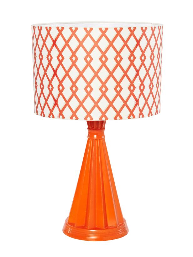 Orange Lamp With Patterned Shade