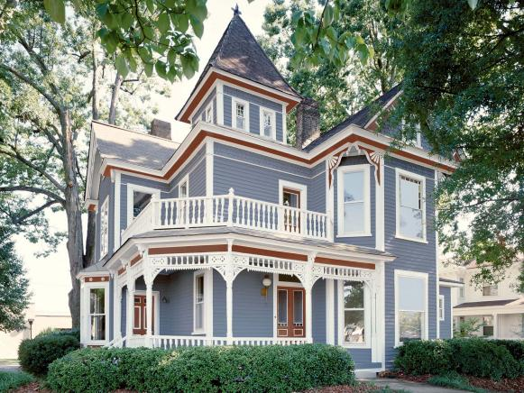 Exterior Outdoor Spaces Paints Color. Red, White And Blue Victorian Style  Home