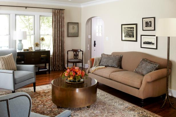 Neutral Transitional Living Room With Gray Armchairs & Tan Sofa