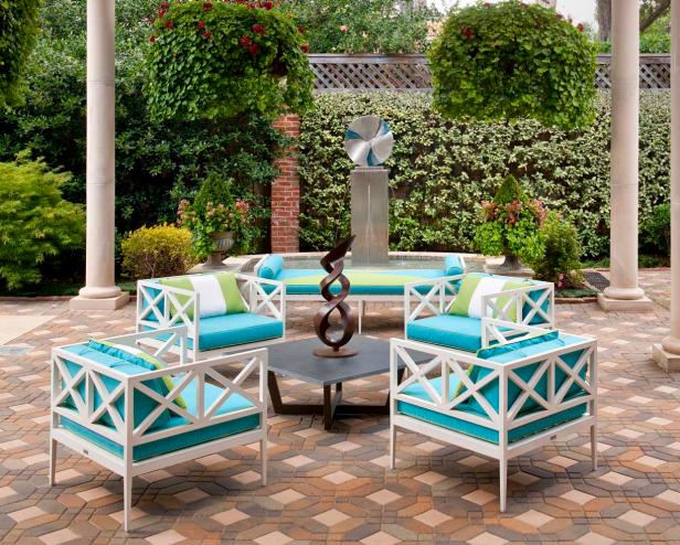 White Outdoor Furniture With Turquoise Cushions & Lime Green Pillows