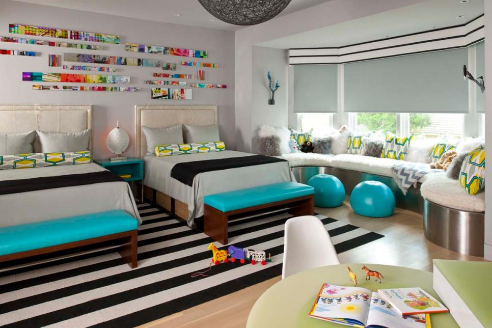 Gray Contemporary Kids Room With Striped Rug & Blue Accents