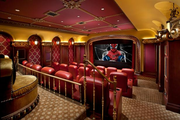 Formal Red and Gold Movie Theater with Ornate Details