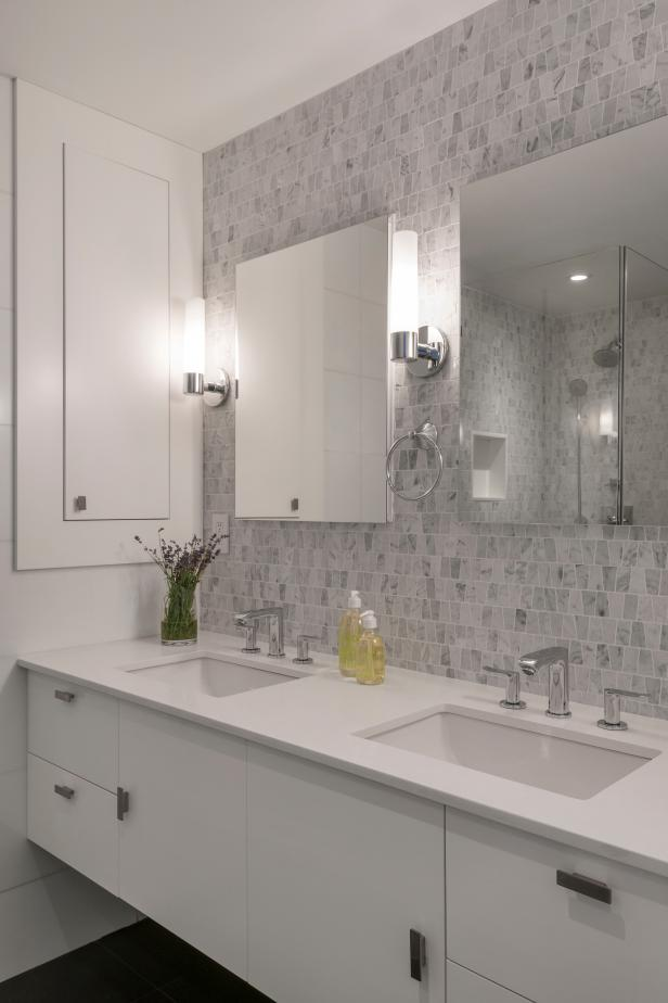 Crisp White Modern Bathroom With Mosaic Tile Accent Wall