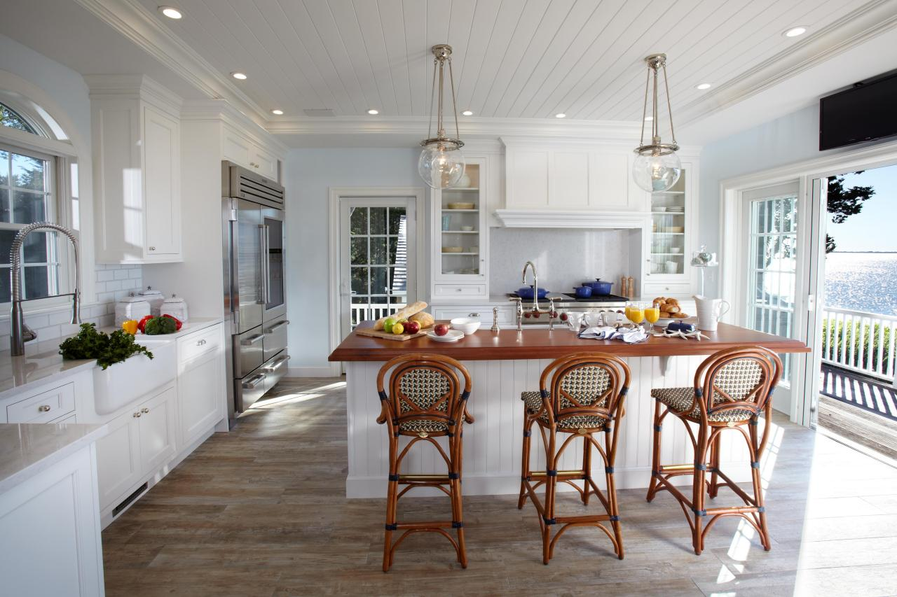 Grey Countertops Kitchen With Beach Cottage Oak Floors