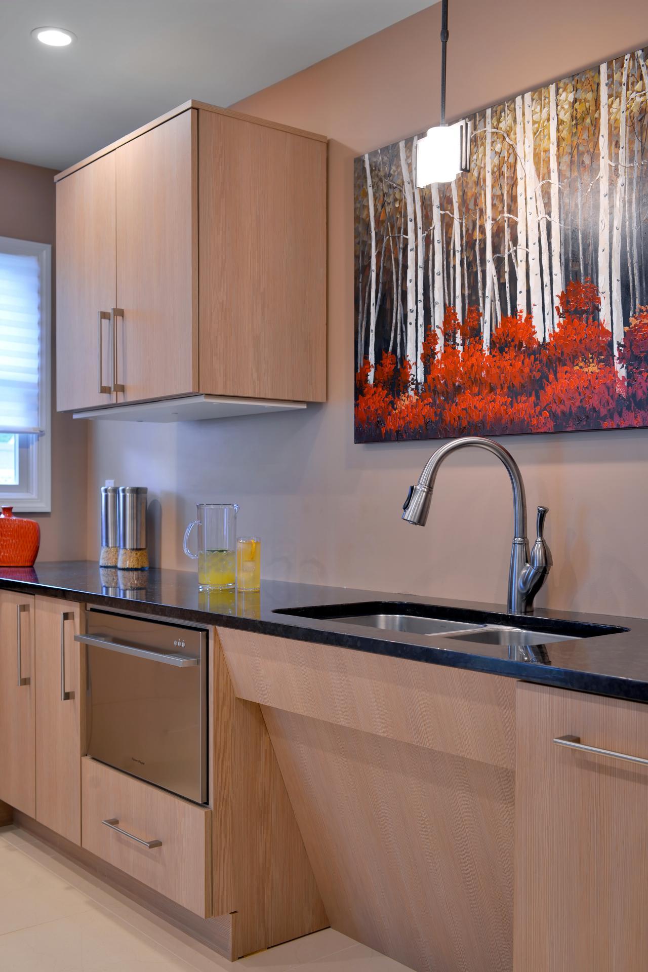 Ada Compliant Kitchen With Sleek Light Cabinets Hgtv