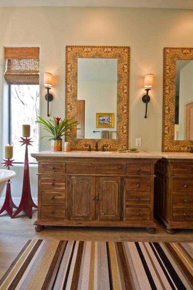 Neutral Southwestern Bathroom With Wood Vanities & Decorative Mirrors