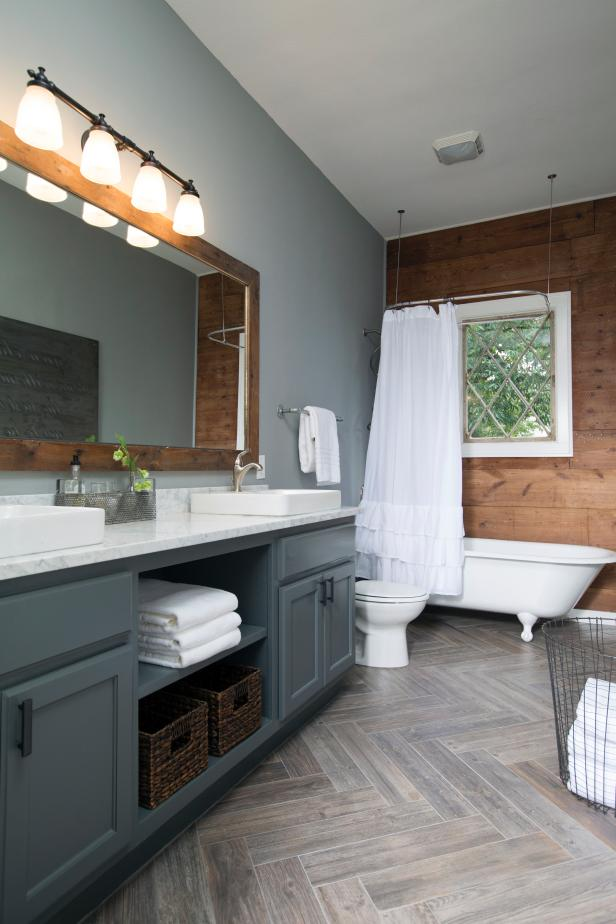 Rustic Bathroom With Wood Grain And Gray Tones Hgtv