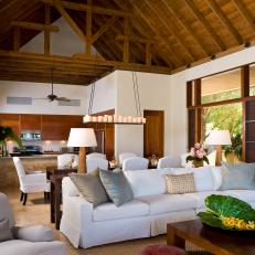 Beau Airy Tropical Living Room With Exposed Beam Ceiling