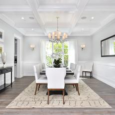 Sophisticated Dining Room With Coffered Ceiling