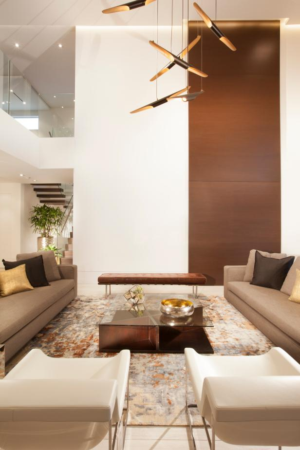 White Contemporary Living Room With Wenge Wood & Pendant Lights