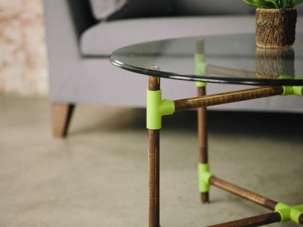 Make a midcentury modern-style coffee table with PVC piping and wood dowels.