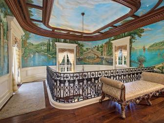 Hand-Painted Hallway Mural With Traditional Wood Ceiling Moldings