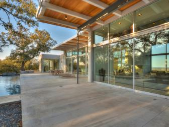 Contemporary Concrete Patio With Indoor-Outdoor Feature