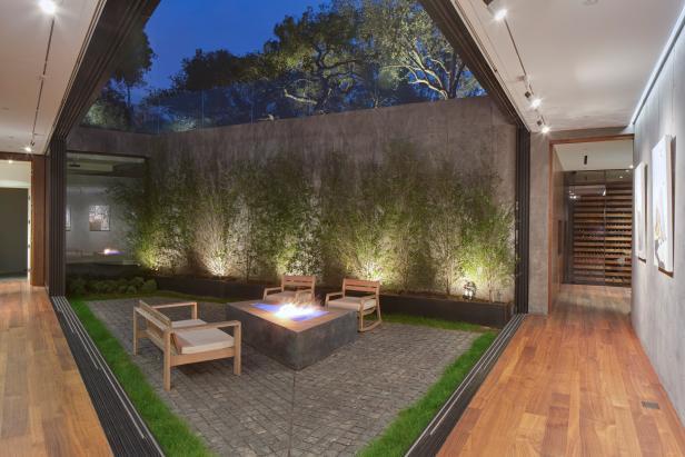 Concrete Firepit In Modern Courtyard Hgtv
