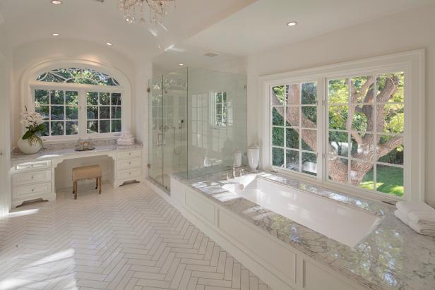 Traditional Bathroom With Herringbone Tile Floor
