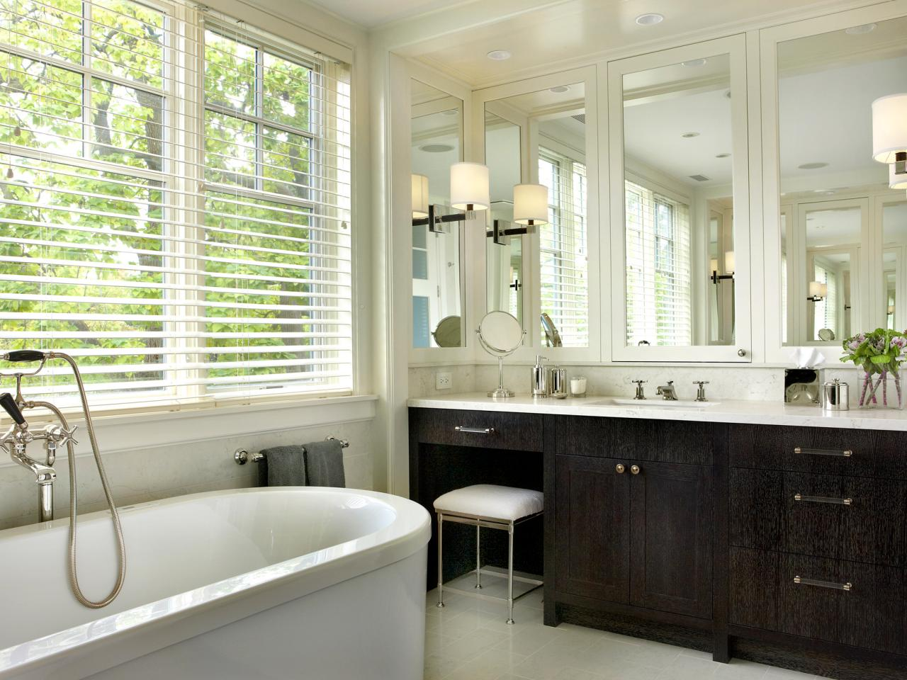 Black And White Master Bathroom With Custom Medicine