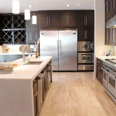 Black and White Contemporary Chef's Kitchen with Viking Appliances and Extra Large Kitchen Island