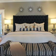 Master Bedroom Suite with Navy, Upholstered Headboard