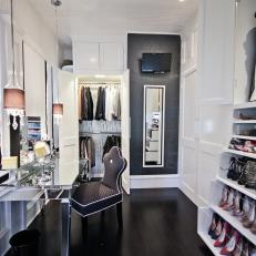 Mirrored Makeup Table in Luxury Contemporary Dressing Room
