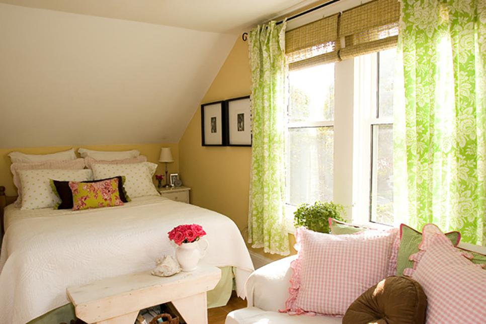 Cottage Style Master Bedroom with Green and Pink Accents