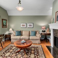 Captivating Traditional Living Room With Fireplace. Sage Green ...