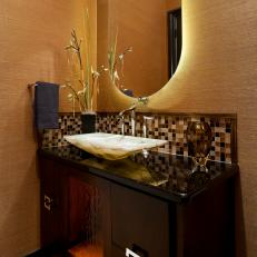 Gold Asian Inspired Bathroom Vanity