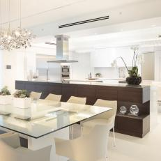 Stunning Dark Buffet Used to Offset Stylish White Kitchen & Dining Room