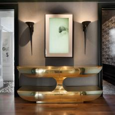 Master Suite Entry Features Video Art Installation and Gold Console