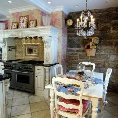 Shabby Chic Breakfast Nook with Rustic Stone Wall