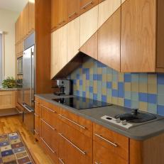 Custom, Angled Kitchen Cabinets & Linear Pulls
