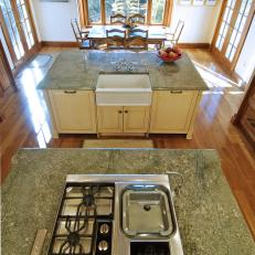 Overhead View of Kitchen Islands & Dining Area