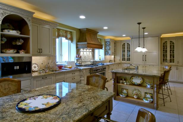 Yellow Traditional Kitchen With White Cabinets & Granite Counters