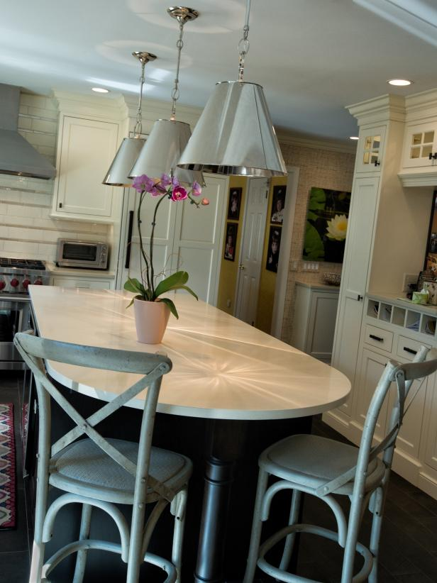 Neutral Kitchen With Island, Chairs & Pendant Lights