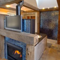 Television and Fireplace in Master En Suite