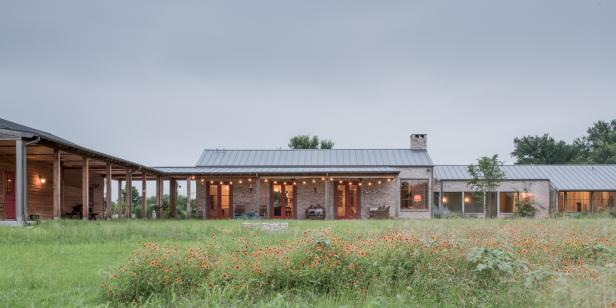 Ranch Exterior With String Lights
