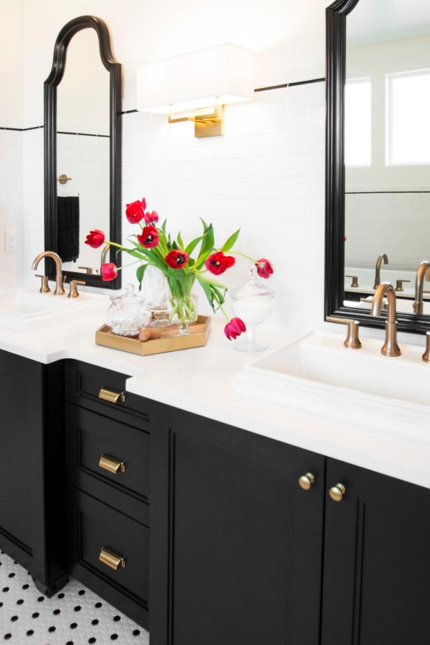 Bright Bath With Dark Wood And White Counters Hgtv