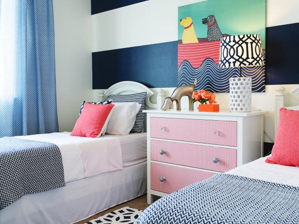 Girl's Contemporary Bedroom With Twin Beds and Striking Art