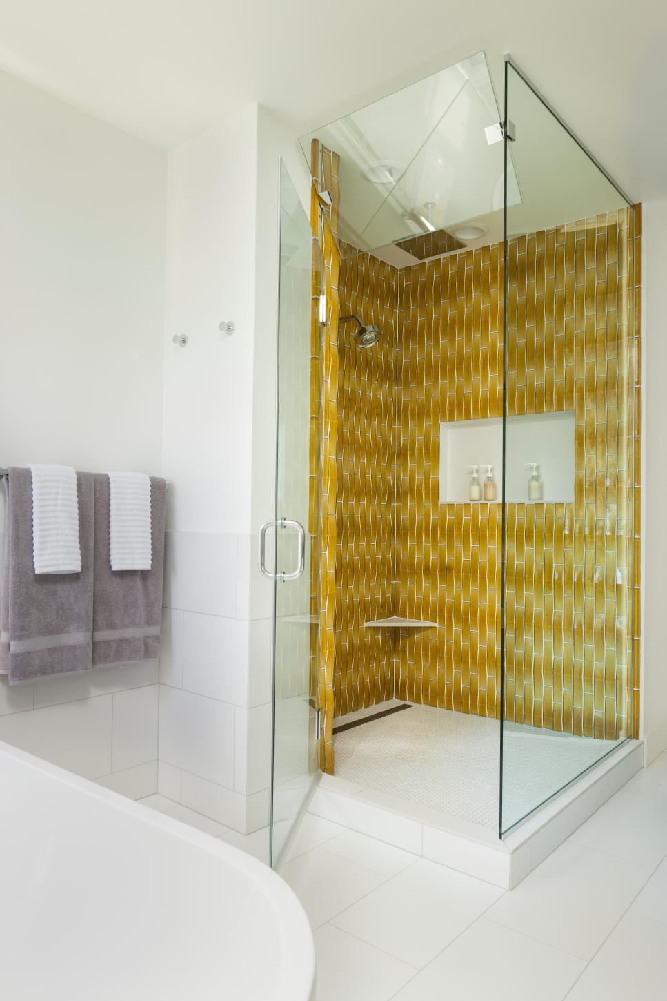Crisp and Clean Modern Bathroom with Glass Shower Walls