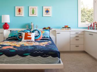 Boy's Bright Blue Room with Fun Robot Prints
