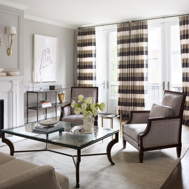 Neutral Fresh Living Room with Striped Curtains for Depth