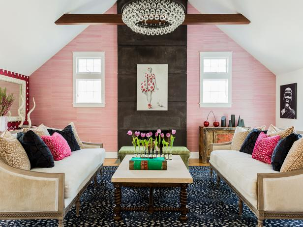 Pink and White Eclectic Living Room With Tulips