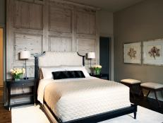 Neutral Master Suite With Wood-Paneled Accent Wall