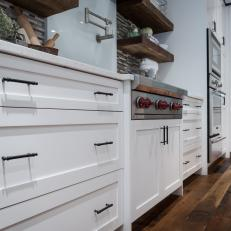 White Shaker Style Cabinetry With Oil Rubbed Bronze Drawer Pulls