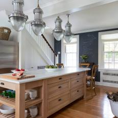 Industrial Pendant Lights Over Kitchen Island