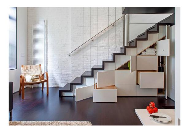 Modern Stairs with Built-In Storage