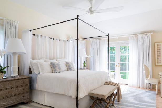 Neutral Transitional Bedroom With Canopy Bed