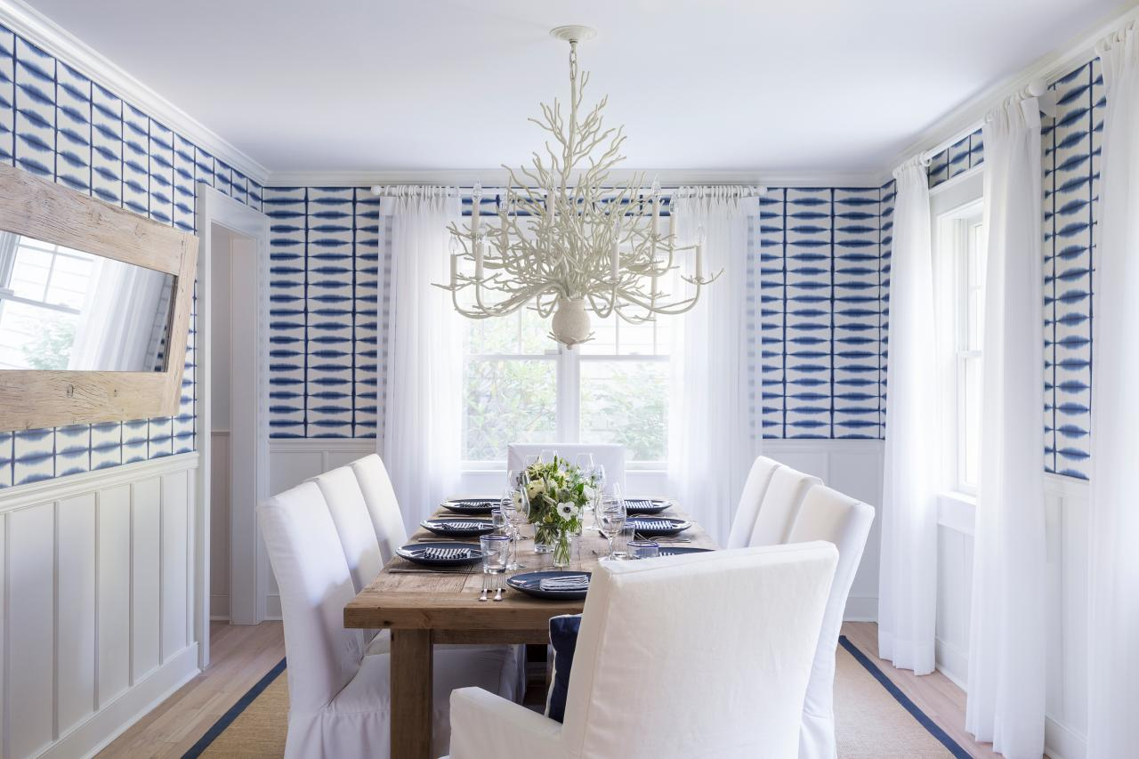 10 chandeliers that are dining room statement makers hgtvs blue and white coastal dining room with graphic wallpaper aloadofball Choice Image