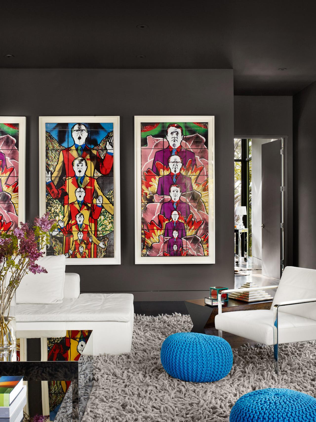 Vibrant Pop Art Wows in Deep Gray Living Room | HGTV